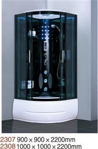 steam shower room with computer panel